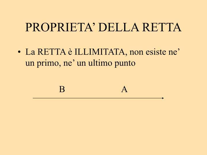 PROPRIETA' DELLA RETTA
