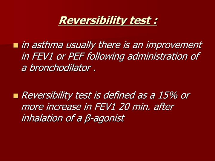 Reversibility test :