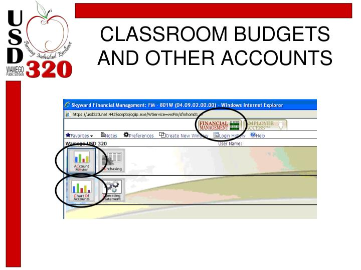 CLASSROOM BUDGETS AND OTHER ACCOUNTS