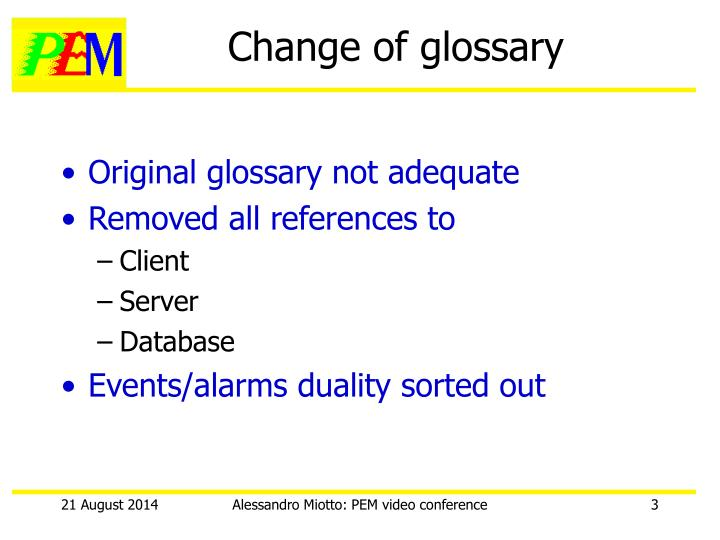 Change of glossary