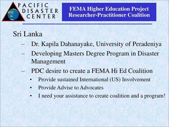 FEMA Higher Education Project Researcher-Practitioner Coalition