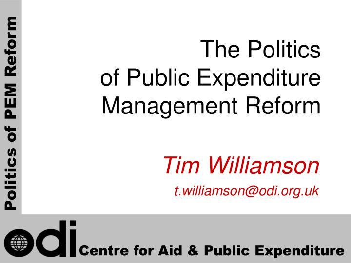 the politics of public expenditure management reform n.