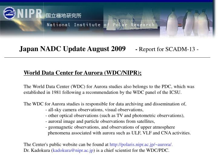 Japan NADC Update August 2009