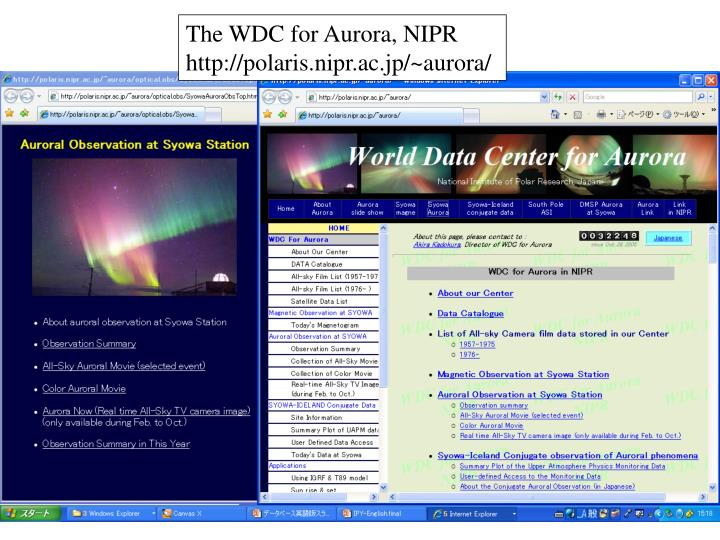 The WDC for Aurora, NIPR