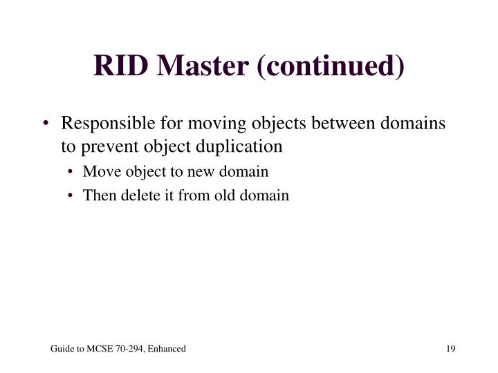 RID Master (continued)