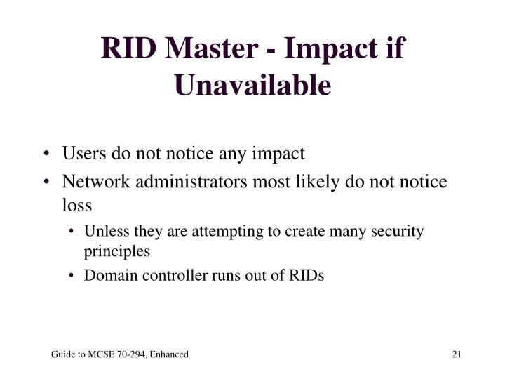 RID Master - Impact if Unavailable