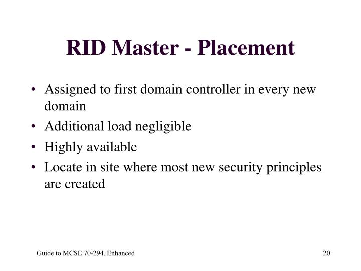 RID Master - Placement