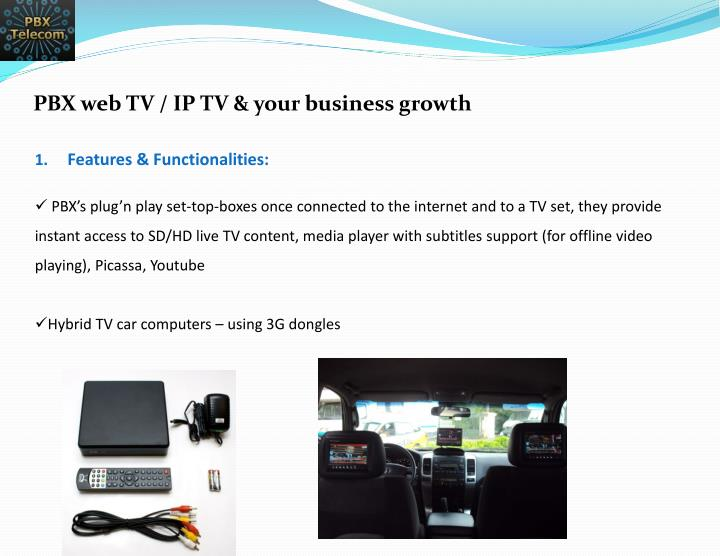 PBX web TV / IP TV & your business growth