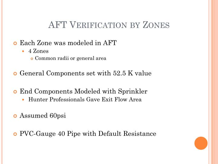 AFT Verification by Zones
