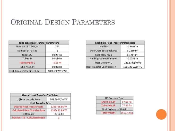 Original Design Parameters