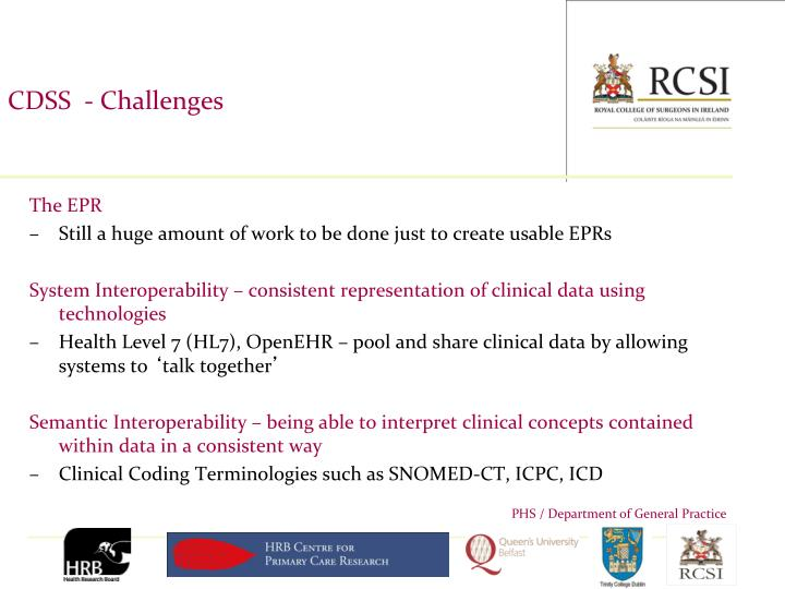 CDSS  - Challenges
