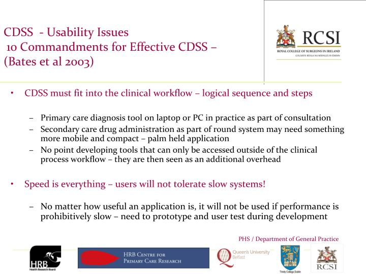 CDSS  - Usability Issues