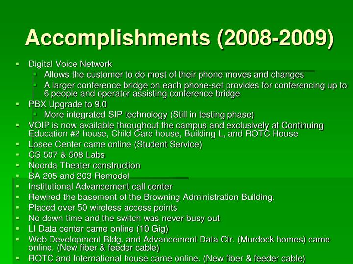 Accomplishments (2008-2009)