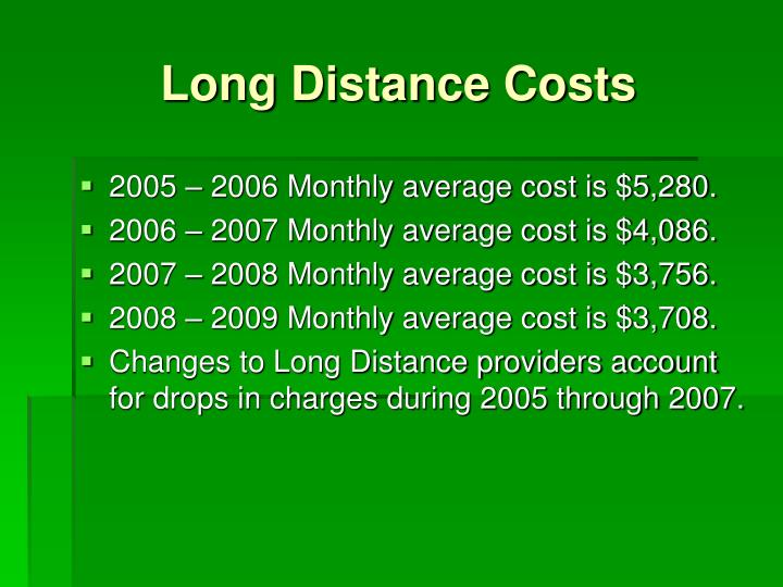 Long Distance Costs