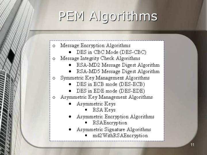 PEM Algorithms