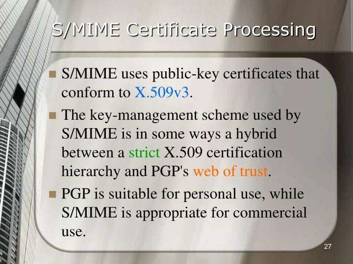 S/MIME Certificate Processing