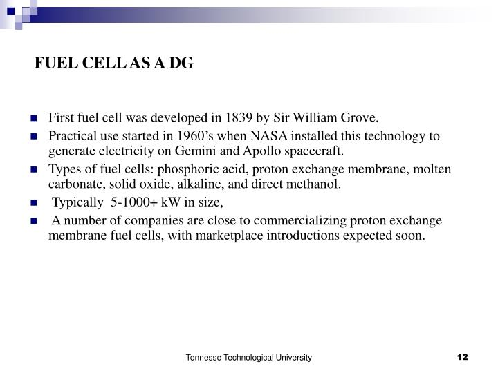 FUEL CELL AS A DG