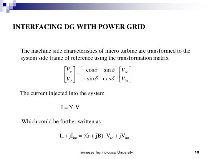 INTERFACING DG WITH POWER GRID