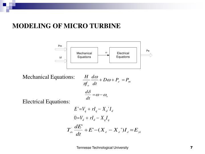 MODELING OF MICRO TURBINE
