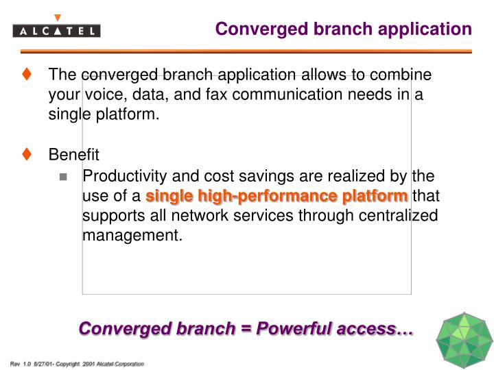 Converged branch application