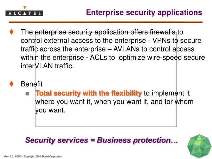 Enterprise security applications