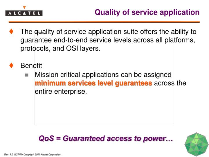 Quality of service application