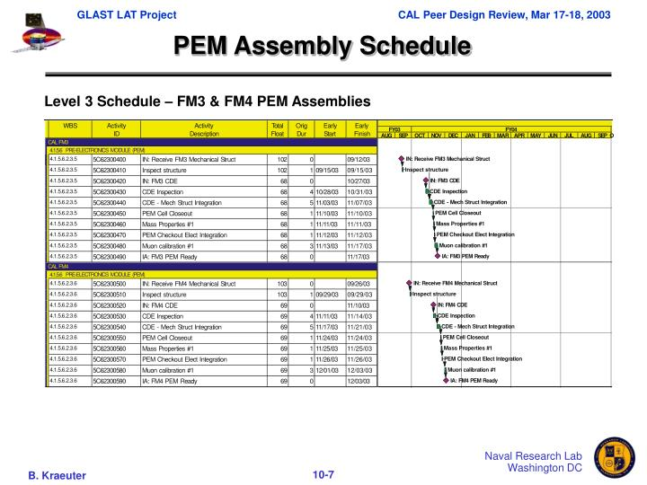 PEM Assembly Schedule