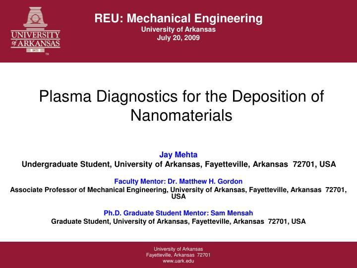 plasma diagnostics for the deposition of nanomaterials n.