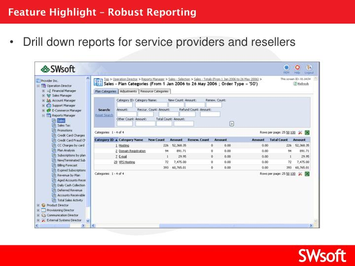 Feature Highlight – Robust Reporting