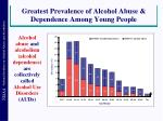 greatest prevalence of alcohol abuse dependence among young people