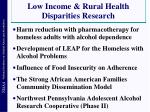 low income rural health disparities research