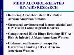 mhhd alcohol related hiv aids research