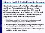 minority health health disparities programs