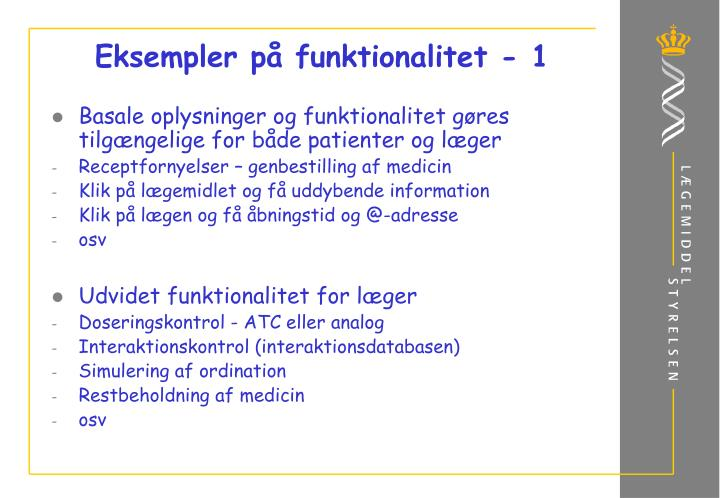 Eksempler på funktionalitet - 1