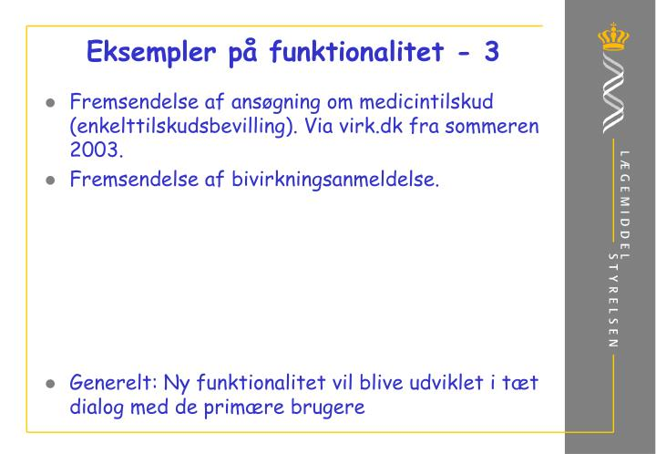 Eksempler på funktionalitet - 3