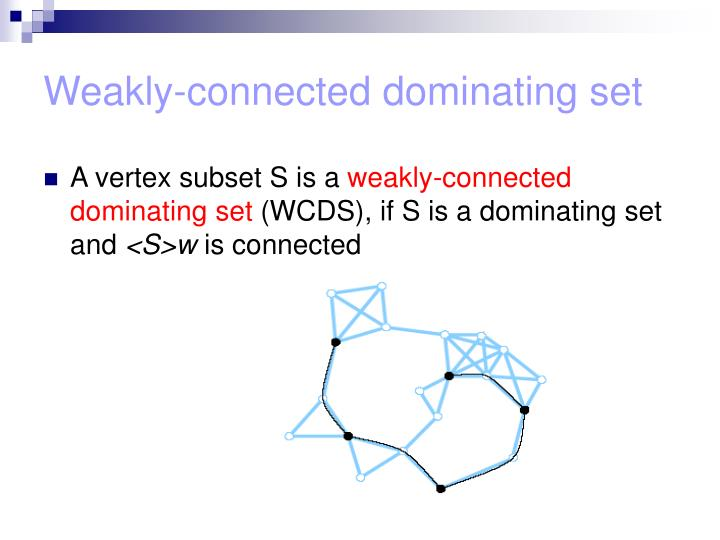 Weakly-connected dominating set