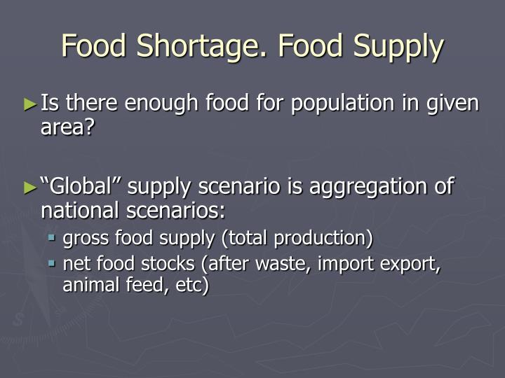 Food Shortage. Food Supply