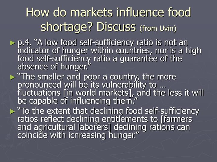 How do markets influence food shortage? Discuss