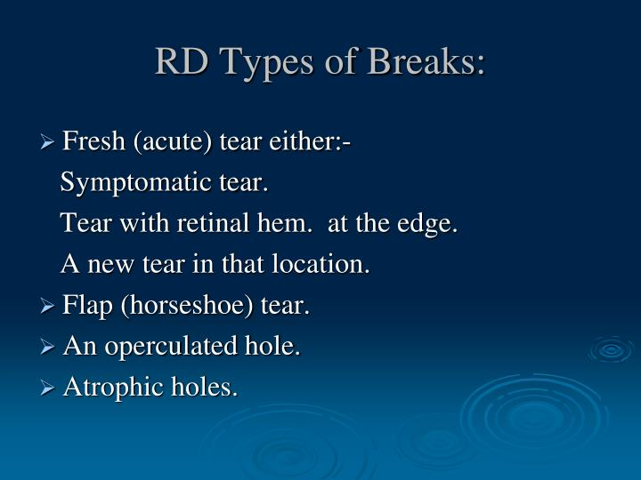 RD Types of Breaks: