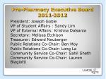 pre pharmacy executive board 2011 2012