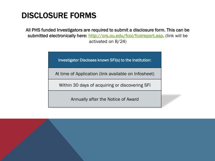 Disclosure forms