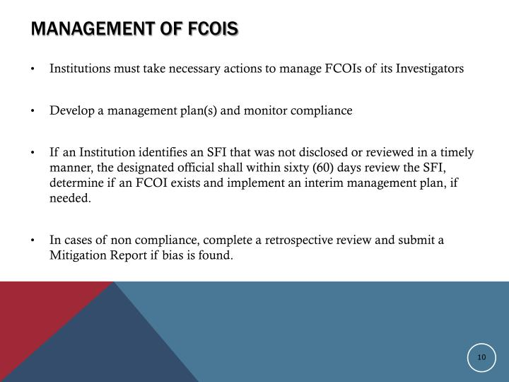 Management of FCOIs