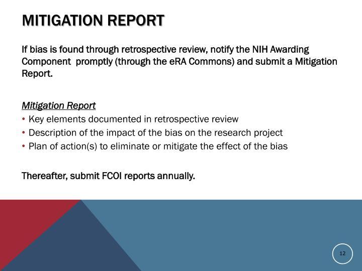 Mitigation Report