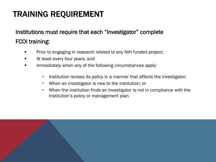 Training requirement
