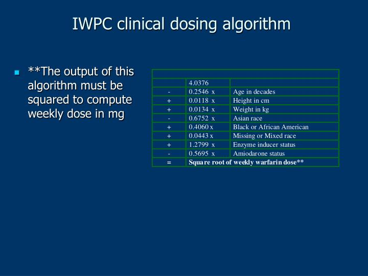 IWPC clinical dosing algorithm