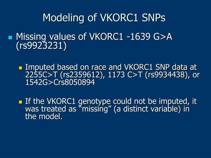 Modeling of VKORC1 SNPs
