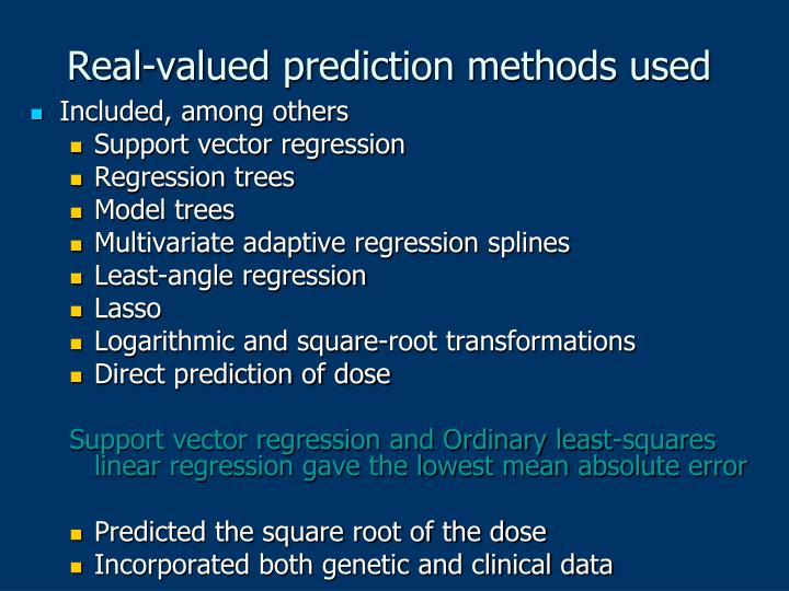 Real-valued prediction methods used