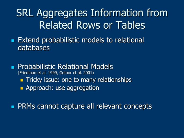SRL Aggregates Information from Related Rows or Tables