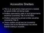accessible shelters