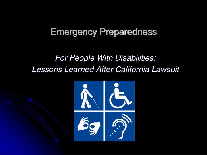 emergency preparedness n.